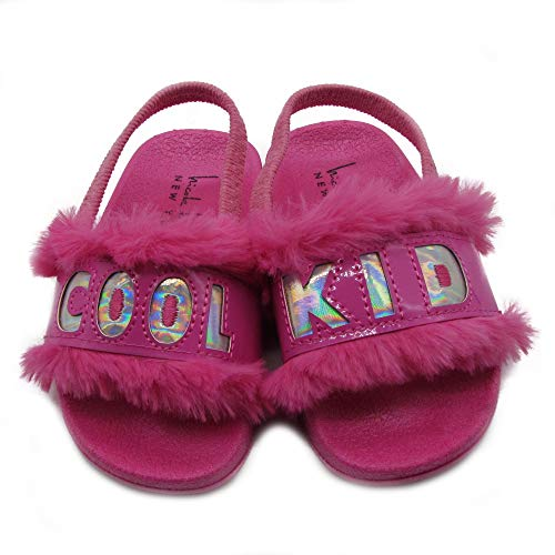Nicole Miller New York Toddler and Little Girls Faux Fur Slide Sandals - Size 5 Neon Pink