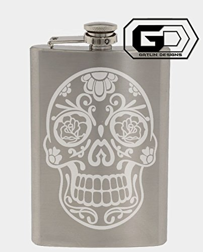Floral Sugar Skull 8oz. Stainless Steel Flask With Custom Hand Made Etching Custom Gifts