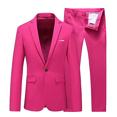 UNINUKOO Mens Slim Fit 2 Piece Single Breasted Jacket Party Prom Tuxedo SuitsUS Size 44 (Label Size 6XL) Pink -