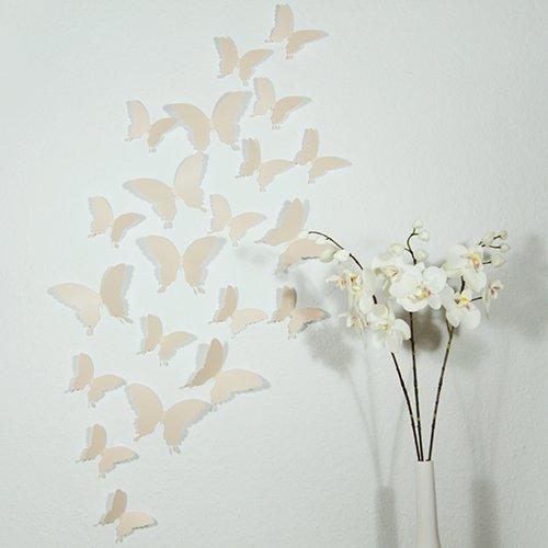 Wandkings 3D Schmetterlinge in BEIGE, 12 STÜCK im Set mit Klebepunkten