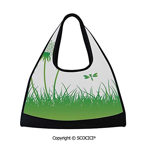 Tennis racket bag,Ecology Background with Dandelions Greenland Grass Habitat Nature Print Decorative,Easy to Carry(18.5x6.7x20 in) Lime Green White