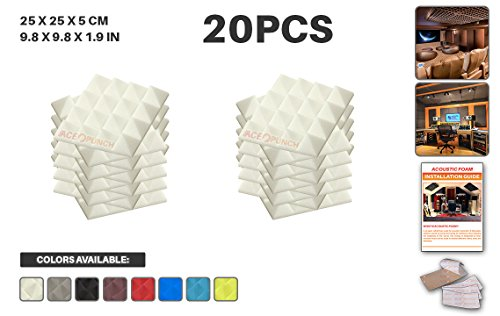 Ace Punch 20 Pack WHITE Pyramid Acoustic Foam Panel DIY Design Studio Soundproofing Wall Tiles Sound Insulation with Free Mounting Tabs 9.8