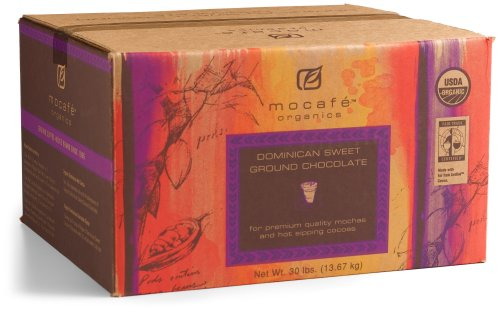 MOCAFE Organics Dominican Sweet Ground Chocolate, 30-Pound Box Instant Frappe Mix, Coffee House Style Blended Drink Used in Coffee -