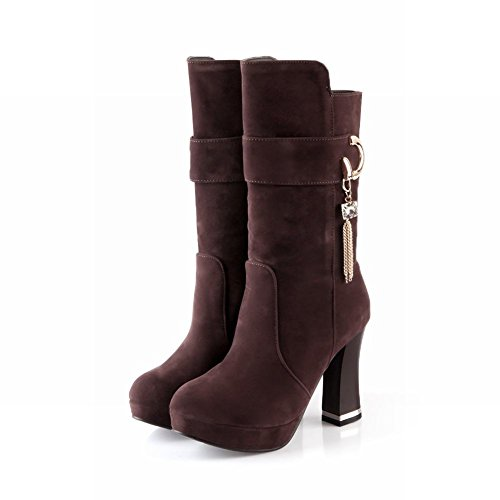 Womens Spring heel Latasa Chunky Side Faux Brown Fashion calf Suede Boots Mid High Chains Platform Fall Dress dw8pEqp