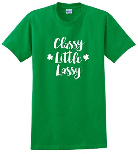 Wee Lassie Gifts St Paddys Day Costume Lucky Irish Gifts Classy Little Lassy Shamrocks T-Shirt Medium Green ()