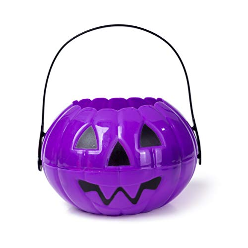 Large Halloween Pumpkin 7 Inch Jack O Lantern Trick or Treat Bucket Purple Kids Candy Bin Party Supplies Decoration Costume -