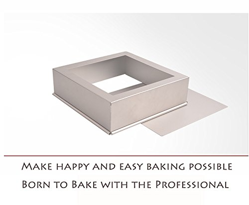 FashionMall Square Non-stick Bakeware, Oven Roasting Baking Loaf Pan Cake Tin, Cake Making Molds Cake Pans with Removable Loose Bottom, Silver (10 inch) by Bakest (Image #1)