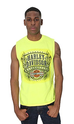Harley-Davidson Mens Flames Legendary HDMC Safety Green Sleeveless Muscle T-Shirt