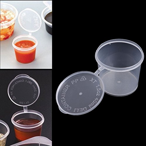 Tebatu Plastic Disposable Sauce Cup Clear Salad Dressing Food Storage Containers + Lids by Tebatu (Image #5)
