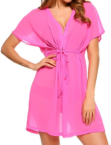 Avidlove Chiffon Cover-up Blouse Swimsuit Sexy Biki Beachwear Sheer Front Tie Kimono Pink, M