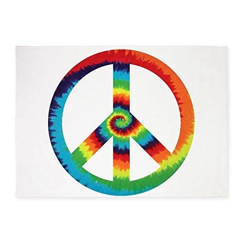 5' x 7' Area Rug Tye Dye Peace Symbol by Royal Lion