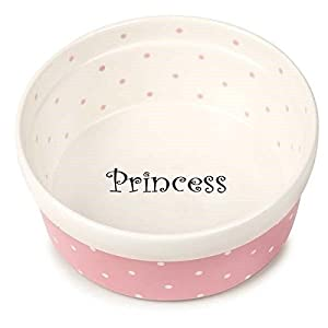 50's Style Ceramic Polka Dot Dishes for Dogs & Cats Prince Princess Food Bowls(7 Inch Pink Round Dog Dish)
