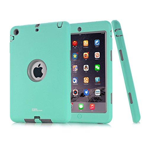 Hocase Dual Layer  Ruggged Hard Rubber Case Apple iPad mini 1 / 2 / 3 - Mint Green / Grey (Ipad Mini Case Generation 1)