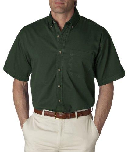 Ultraclub Mens Short-Sleeve Cypress Denim with Pocket 8965 -Forest Green M