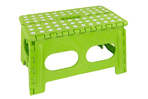 Home Basics Bright Folding Stool with Non-Slip Dots (Wide, Green)