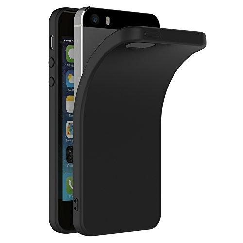 iPhone SE Hülle, AICEK Schwarz Silikon Schutzhülle für iPhone SE / 5S / 5 Case TPU Bumper iPhone SE Handyhülle