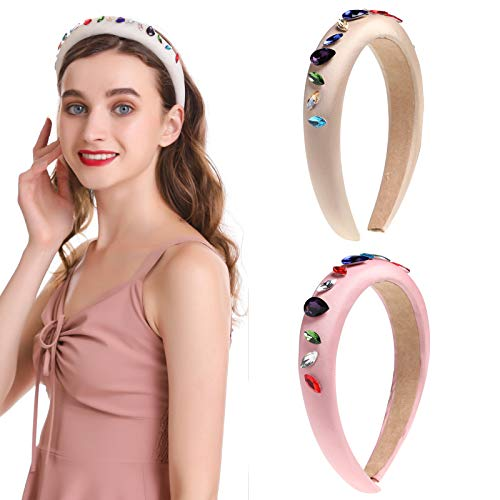 AWAYTR Cloth Padded Rhinestone Embellished Headband Large Padded Cloth Races Goth Wedding Headpiece for Women (Pink + Beige)