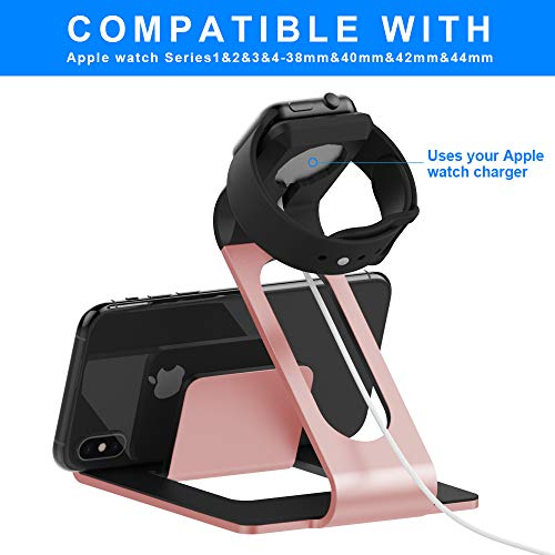 Mercase-Apple-Watch-Stand-with-NightStand-Mode-and-Cell-Phone-Charging-Station-TPU-Aluminum-iWatch-Docking-for-Series-4Series-3Series-2Series-1-44mm42mm40mm38mm-iPhoneiPadTablet-Rose-Gold