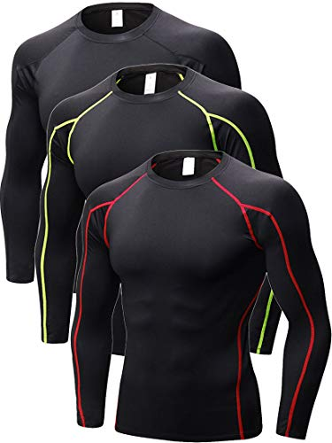 (3 Pack Mens Performance Long Sleeve Compression Shirts Cool Dry Wicking Baselayer, 352# 3 Pack: Black/Black(red Stripe)/Black(green Stripe), Fit like US XX-Large)
