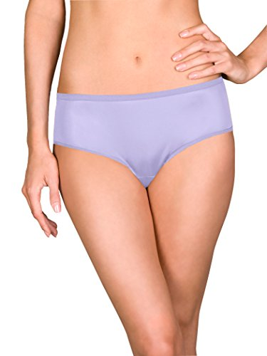 Shadowline Women's Plus Size Hidden Elastic Nylon Hipster Panty 3-Pack, peri Frost, 10