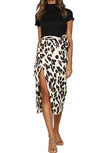 (Women's Zip Up Leopard Print Midi Bodycon Pencil Skirt Stretchy Elastic Waist Apricot)