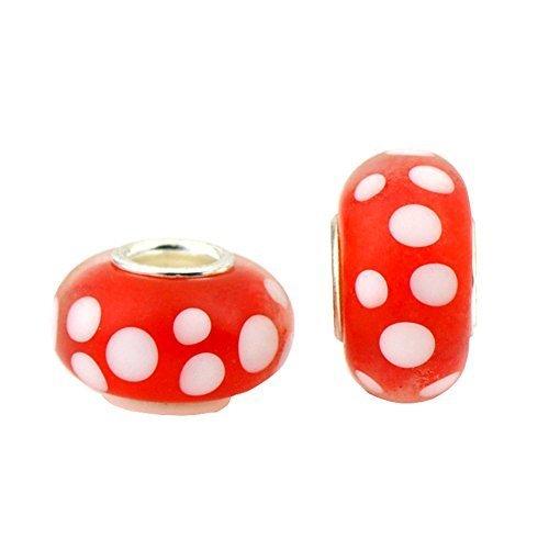 - Bling Stars Red White Dot Lampwork Murano Glass Charms Beads For Snake Chain Bracelets