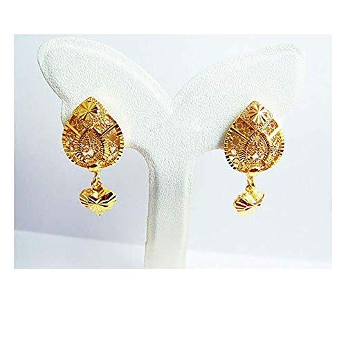 Detail Heart Drop Dangle 24k Gold-plated 24K 22K Thai Baht Yellow Gold Earrings Jewelry Gold for Women ()