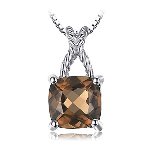 VERA NOVA JEWELRY Lavish 0.93Ct Brown Genuine Smoky Quartz Cushion-Cut Sterling Silver Pendant Necklace with 18-inch Box Chain