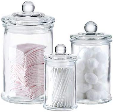 Apothecary Jars Cotton Jar Bathroom Organizer Canisters