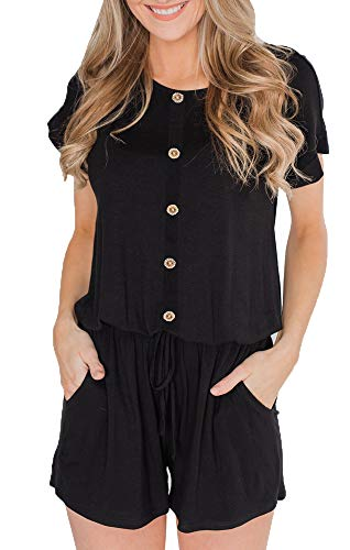 BOCOTUBE Women's Summer Casual Short Sleeve Striped Front Button Loose Jumpsuit Rompers with Pockets Black (Button Romper)