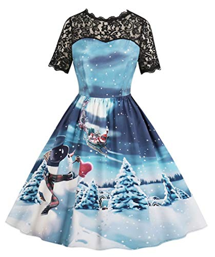 Vanbuy Women's Santa Claus Reindeer Print Christmas Dress Vintage Xmas Santa Cocktail Swing Dress ZV260-513-Blue-M -