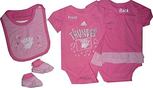 Oklahoma Thunder Girls Pink Creeper Bib Booties Set 3pc Set Infant Baby (0-3 Months)