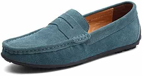 Menshoes Fleece Inside Penny Driving Loafers Men Suede Leather Comfortable Soft Casual Shoes Anti-Slip Flat Round Toe Slip-on Comfortable