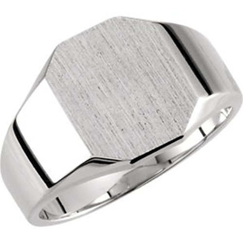 14K White Gold Octagon Signet Ring, Size: 6 (Ring Signet Gold White Octagon)