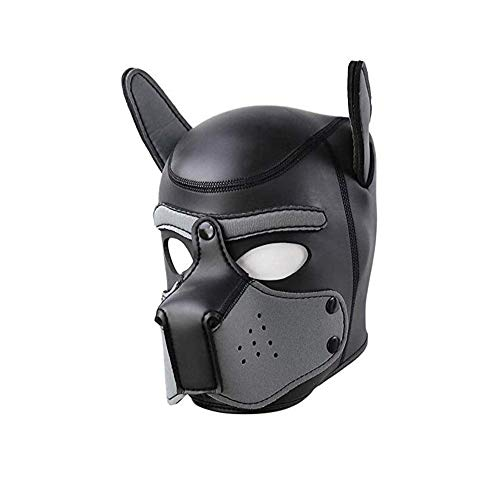 Neoprene Puppy Hood Full Face Animal Mask for Halloween Novelty Cosplay Costume Party Props-Dog Head Masks (Large, Gray) -