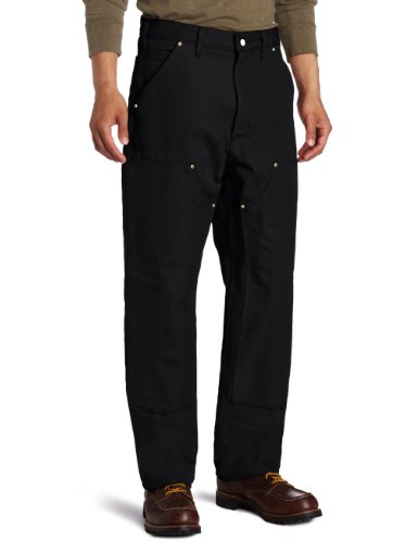 Black Flannel Lined Jeans (Carhartt Men's Double Front Dungaree Flannel Lined,Black,42 x 32)