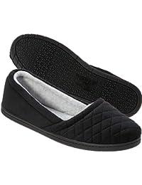Womens Microfiber Velour Espadrille Slippers- Black
