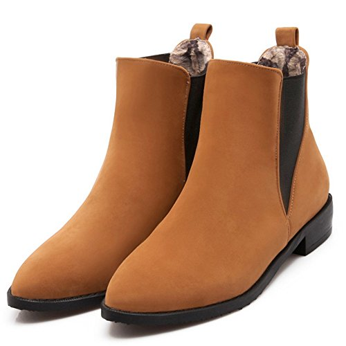Flat Brown Boots Slip TAOFFEN On Chelsea Women Ankle Boots Classical Booties gAnwPFZq
