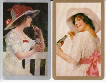 2 Single Swap Playing Cards Ladies Drinking Coca-Cola Soda Pop