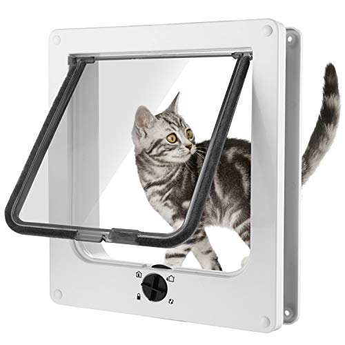 Nesaila Interior Cat Door, Magnetic Pet Door with 4 – Way Rotary Lock for Cats & Doggie– for Cats Up to 18 lb