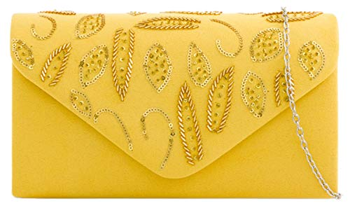 Clutch HandBags HandBags Girly Suede Clutch Yellow Sequins Sequins Bag Girly Suede T8pxn7