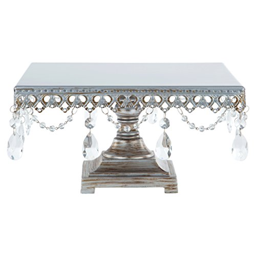"""Anastasia Collection"" Square Cake Stand, Antique Metal Dessert Plate with Crystal Dangles (Silver)"