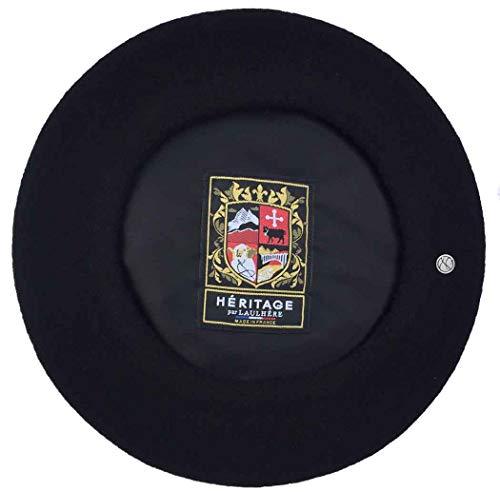 Laulhere Classiques Authentique Traditional French Wool Beret, Noir (Black)