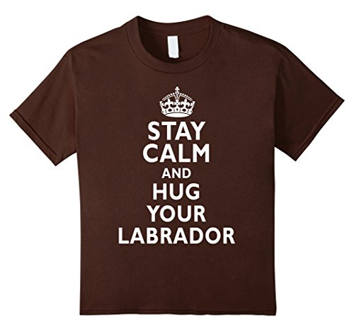 [Kids Stay Calm and Hug Your Labrador Funny T-Shirt 4 Brown] (Costumes For Dogs With Cones)