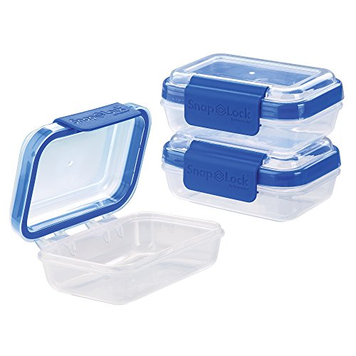 Snack Cups 3 (SnapLock by Progressive Rectangular 1-Cup, Blue - Set of 3 SNL-1006SETB Easy-To-Open, Leak-Proof Silicone Seal, Snap-Off Lid, Stackable, BPA FREE)