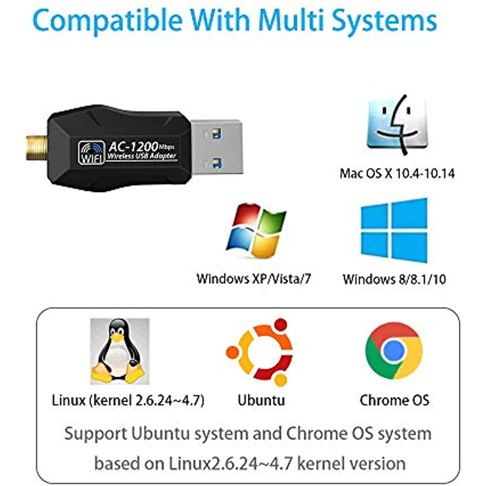 Details about USB Network Adapters WiFi For Desktop Windows With AC1200 Mac  Wireless PC 5dBI,