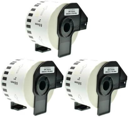 Logic-Seek 3X Endlos-Etikett kompatibel für Brother DK22223 50mm x 30,48m P-Touch QL-1050 1060N 500 550 560 570 580 700 500 A BS BW 560 VP YX 580N 650TD 710W 720NW
