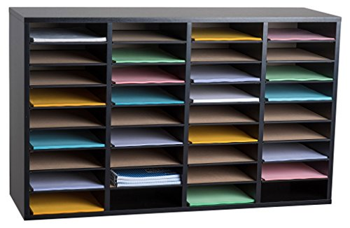 AdirOffice Wood Adjustable Literature Organizer (36 Compartment, Black) by AdirOffice