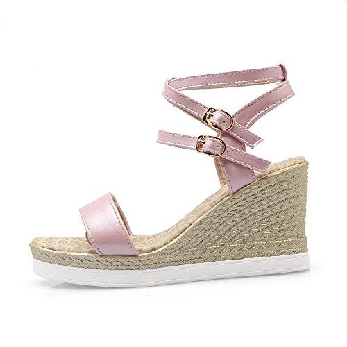 AmoonyFashion Womens PU Solid Buckle Open Toe High-Heels Wedges-Sandals Pink LTnU3