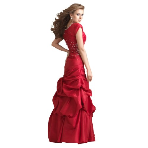 Pick Rock Abschlussball Ausschnitt Rot Mieder Taille Rot BRIDE Asymmetrische GEORGE Perlen Up Kleid quadratischen Taft ZUzWwR